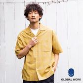 GLOBAL WORK男開襟口袋抗皺棉麻短袖襯衫-五色