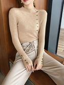 毛衣 2018新款時尚韓版半高領顯瘦針織衫修身長袖打底套頭毛衣女上衣潮 雙12購物節必選