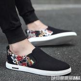 夏季男鞋透氣韓版潮流百搭帆布鞋男士一腳蹬休閒懶人鞋老北京布鞋 印象家品