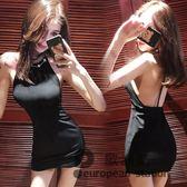 露背洋裝/連身裙女裝夏新款韓版金屬掛脖大顯瘦包臀純色修身短裙子