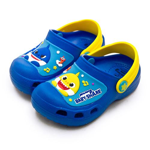 LIKA夢 Pinkfong 碰碰狐 15cm-19cm BABY SHARK 輕量兒童園丁涼、拖鞋 台灣製造 寶藍黃 96526 中童