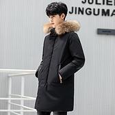 羽絨夾克-連帽純色中長款貉子毛領外套2色73un3【巴黎精品】