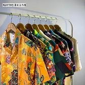 花襯衫 卡通涂鴉花襯衫男女夏季潮流港風復古bf寬鬆夏威夷風情侶短袖襯衣 晶彩 99免運