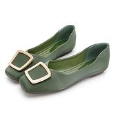 PLAYBOY 優雅浪漫 顯瘦方頭平底鞋-綠(Y7309)