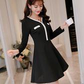 韓版修身長袖顯瘦大碼時尚針織連衣裙打底裙女 「爆米花」