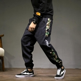 單寧牛仔長褲 男牛仔褲 寬管褲 迷彩哈倫寬鬆潮牌嘻哈大碼日系小腳褲鬆緊收腳韓版男褲子cs2165