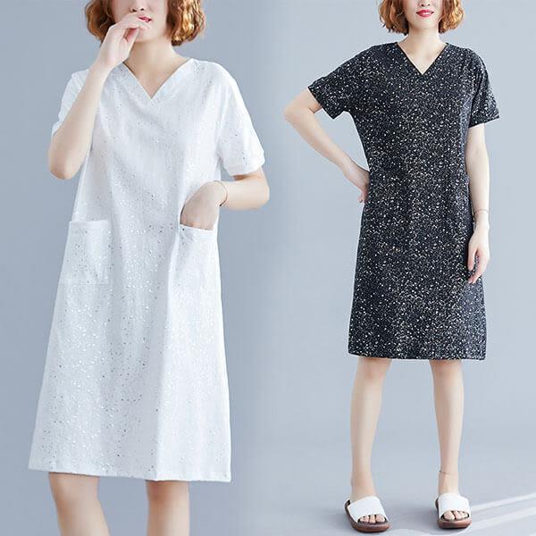 星空V領棉T洋裝-多尺碼 獨具衣格