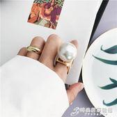 戒指 歐美個性簡約大珍珠金屬夸張食指設計師網紅戒指飾品女人氣質指環 時尚芭莎