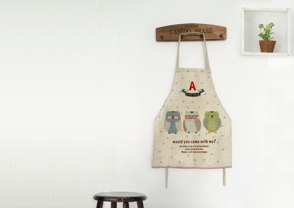 ☆Dolly生活館*╮廚房用品 可愛無袖印花後綁帶 三隻貓頭鷹 棉麻圍裙/居家工作服 20056