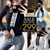 克妹Ke-Mei【AT62549】ROUD歐美時尚電繡字母針織上衣