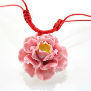 手繪瓷花 富貴牡丹 項鏈  女 大方貴氣 陶瓷首飾