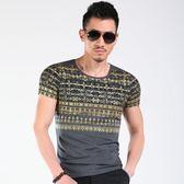 短袖T恤男 韓版潮流 休閒上衣 個性復古中國風T恤燙金色印花原創圖案半袖體恤wx3401