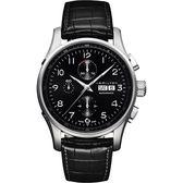 Hamilton 漢米爾頓 JAZZMASTER 時尚達人計時機械腕錶-黑/45mm H32716839