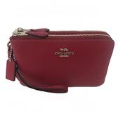 【COACH】經典LOGO 牛皮L型雙層拉鍊手拿包零錢包(漿果紅)