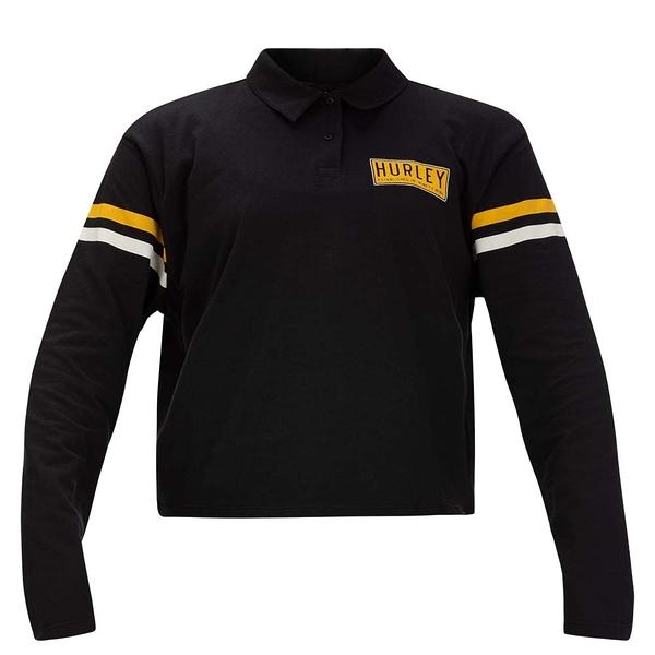 HURLEY|女 W COLLEGIATE CROP LS POLO BLACK 長袖T恤-黑