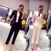 2019春裝新款韓版修身職業工作服套裝女士時尚歐洲站小西裝兩件套
