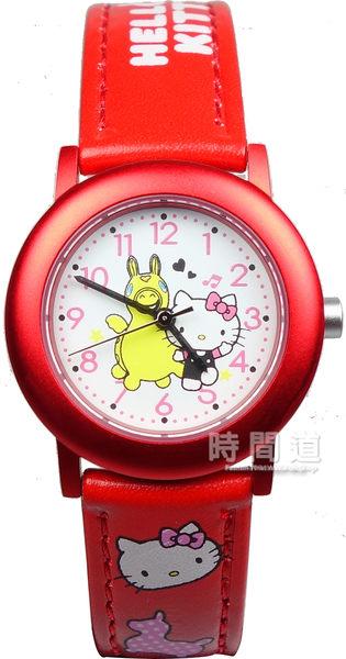 【時間道】[Hello Kitty。錶]可愛跳跳馬聯名款腕錶/白面紅皮 (KT010LRWR)免運費
