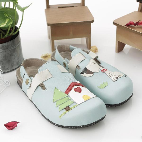 【Jingle】我的寶貝狗狗前包後空軟木鞋(水藍色大人款)