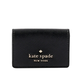 【KATE SPADE】Staci 防刮皮革三折短夾(Micro)(黑色) WLR00133 001