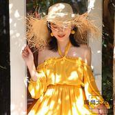 一字肩沙灘裙女超仙顯瘦海邊度假大碼紡長裙【時尚大衣櫥】