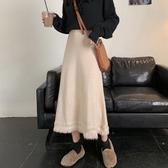 秋冬長裙新款裙子中長款半身裙女冬季高腰流蘇冬裙黑色針織裙 韓國時尚週