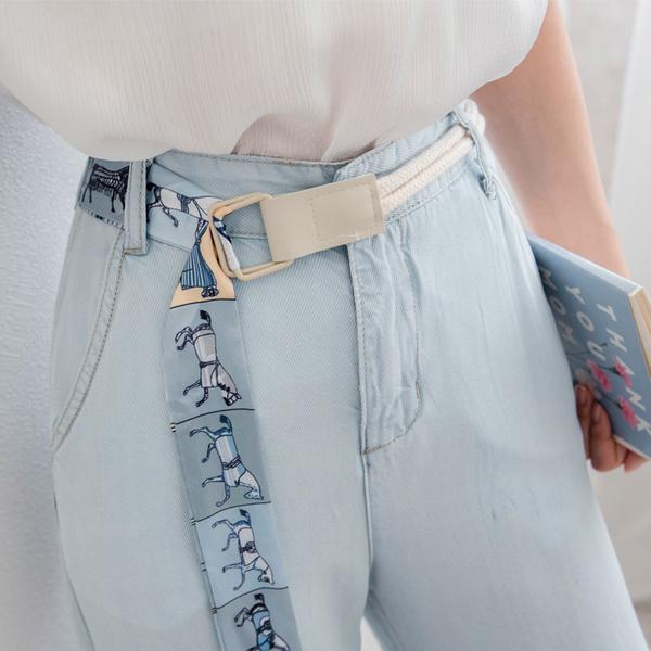MIUSTAR 附雙繩絲質腰帶仿天絲牛仔寬褲(共1色,S-XL)【NH1774】預購