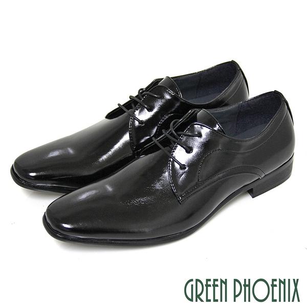 T59-10182 男款皮鞋 素面質感亮面綁帶商務/學生/紳士皮鞋【GREEN PHOENIX】T59-10182