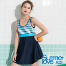 【Summer Love 夏之戀】加大碼條紋顯瘦連身帶裙泳裝(S19711)