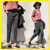 毛呢褲子女新款韓版寬鬆高腰哈倫褲小腳西裝褲九分蘿卜褲