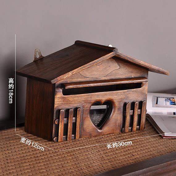 員工意見箱掛墻帶鎖扣實木意見箱創意房屋造型信箱復古小郵箱壁飾 igo 『米菲良品』