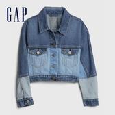 Gap女童 時尚個性拼接翻領牛仔夾克 609755-藍色
