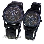 SIGMA 都會時尚三眼時尚對錶-黑X銀灰