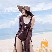 比基尼泳衣女性感連體小胸聚攏遮肚顯瘦韓國溫泉泳裝【慢客生活】
