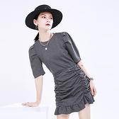 短袖洋裝-皺褶復古純色包臀女連身裙2色73yh27【巴黎精品】