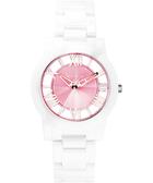 Relax Time 霓虹閃耀鏤空陶瓷腕錶-粉x玫塊金時標x白 RT-53-8