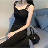 小黑裙 吊帶裙夏季法式仙女吊帶連身裙性感黑色氣質長款赫本小黑裙長裙女 維多原創