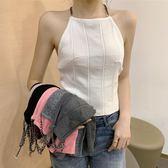 韓版氣質chic風性感削肩露鎖骨吊帶衫新款短款打底背心上衣女 錢夫人小鋪