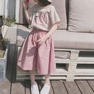 *╮小衣衫S13╭*甜美粉色休閒5分大寬褲1070428
