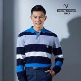 Emilio Valentino范倫鐵諾美式經典條紋純棉POLO衫 (藍/灰)