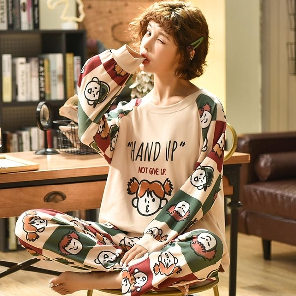 新款睡衣女春秋季純棉長袖韓版學生可愛女士秋冬家居服套裝可外穿【618優惠】