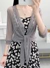 防曬披肩女夏季網紗開衫小披肩搭裙子薄款外搭配吊帶裙的小外套「時尚彩紅屋」