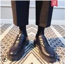 大頭鞋 秋季休閒西裝鞋男商務正裝黑色小皮鞋大頭鞋正韓圓頭馬丁靴潮學生【全館免運】