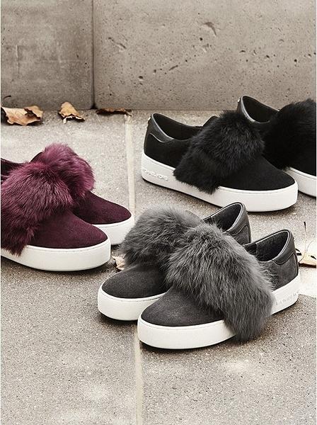 MICHAEL KORS 寒潮來襲 Maven Fur and Suede Slip 毛毛球鞋(預購商品)