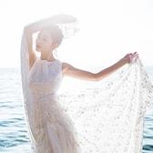 洋裝-無袖波西米亞風白色蕾絲飄逸女連身裙73pu32【巴黎精品】