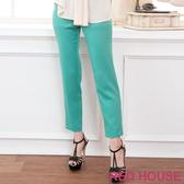【RED HOUSE 蕾赫斯】亮面雙釦直筒褲(綠色)