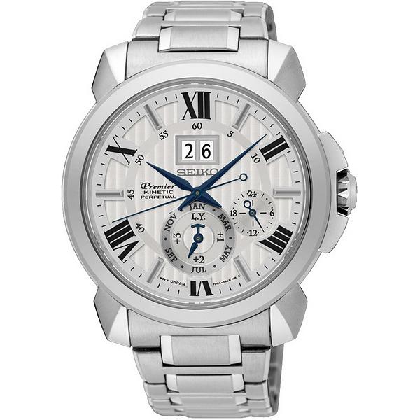【台南 時代鐘錶 SEIKO】精工 Premier 人動電能追時萬年曆時尚腕錶 SNP139J1@7D56-0AE0S 白 42mm