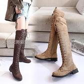膝上靴女夏季新款馬丁靴女英倫風過膝靴女長筒高筒靴騎士機車靴子女冬 快速出貨