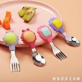 小寶寶學吃飯訓練勺子短柄叉勺硅膠勺嬰兒輔食勺叉子兒童餐具套裝 創意家居