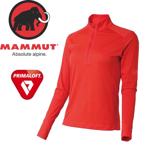 【MAMMUT Performance Dry Zip Longsleeve女《小檗紅》】1016-00210-3218/長毛象/Primaloft/長袖半開襟★滿額送