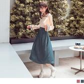 《DA8054-》層次喇叭袖高腰鬆緊撞色翻領洋裝(附綁帶) OB嚴選